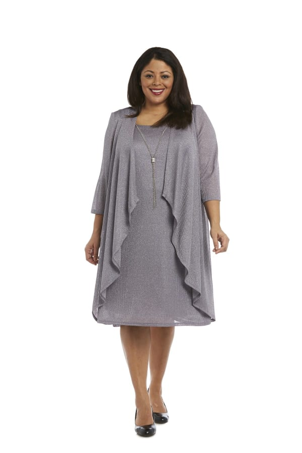 Metallic Sleeveless Shift Dress and Draped Cardigan Combo - Plus - Silver - Front