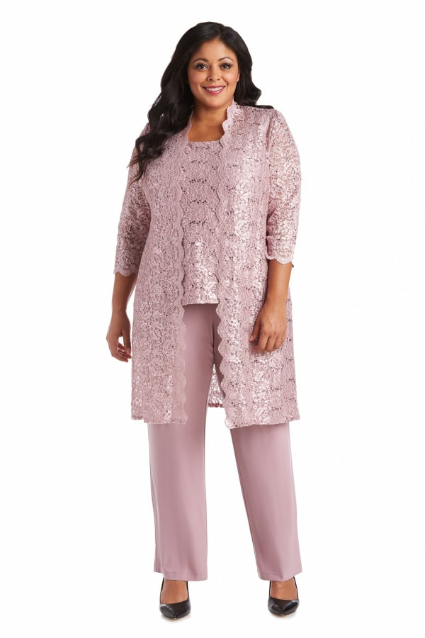 Three-Piece Pant Set with Metallic Lace and Long-Line Jacket - Plus - Mauve - Front