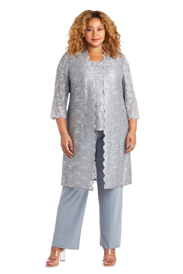 Three-Piece Pant Set with Metallic Lace and Long-Line Jacket - Plus -Silver - Front