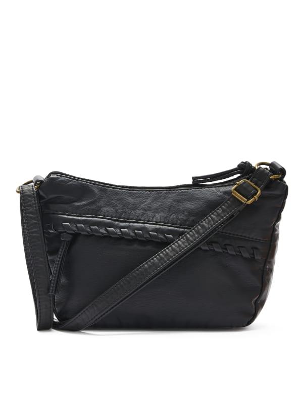Whipstitch Front Pocket Crossbody Handbag - Black - Front