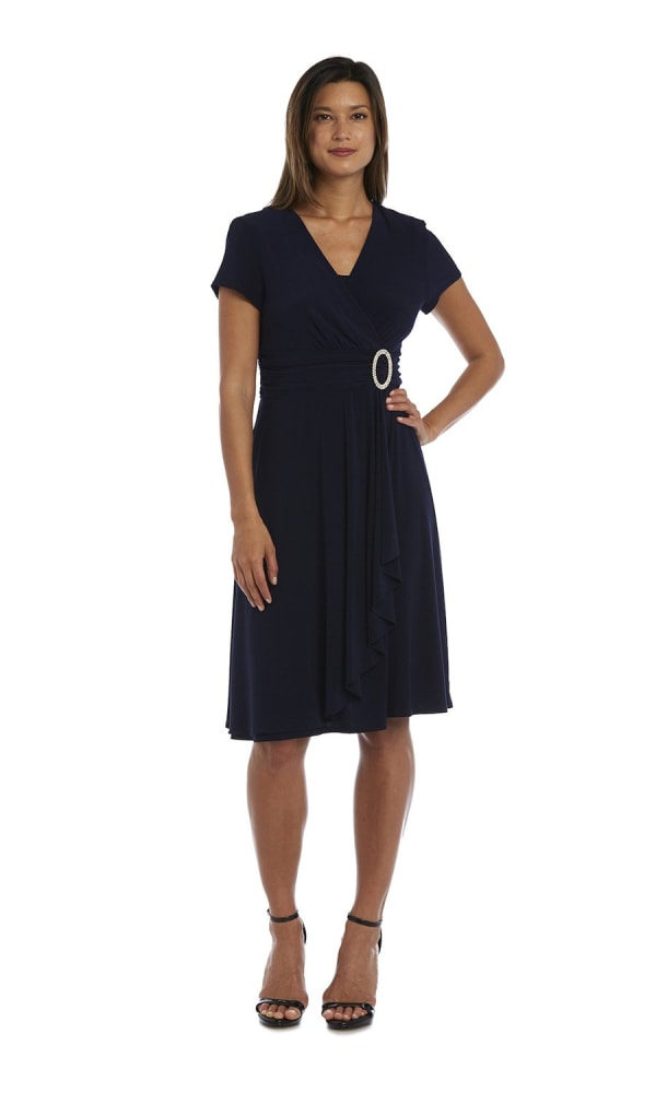 Short Sleeve Rhinestone Ring Faux Wrap Dress - Navy - Front