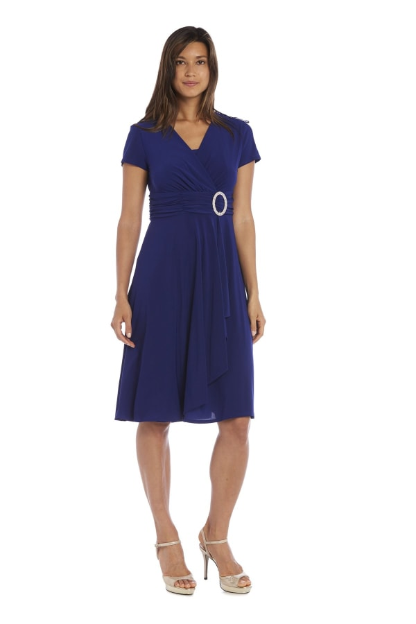 Short Sleeve Rhinestone Ring Faux Wrap Dress - Electric Blue - Front