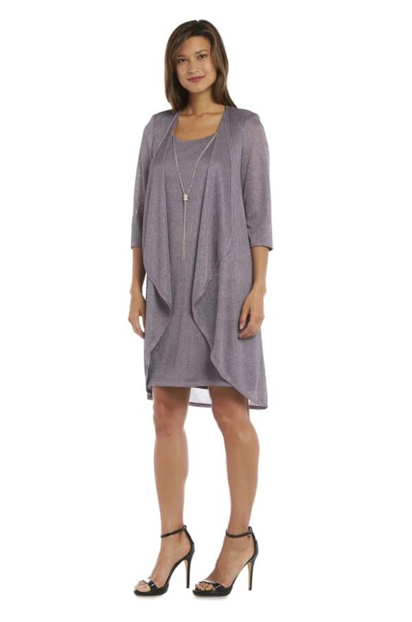 Metallic Sleeveless Shift Dress and Draped Cardigan Combo