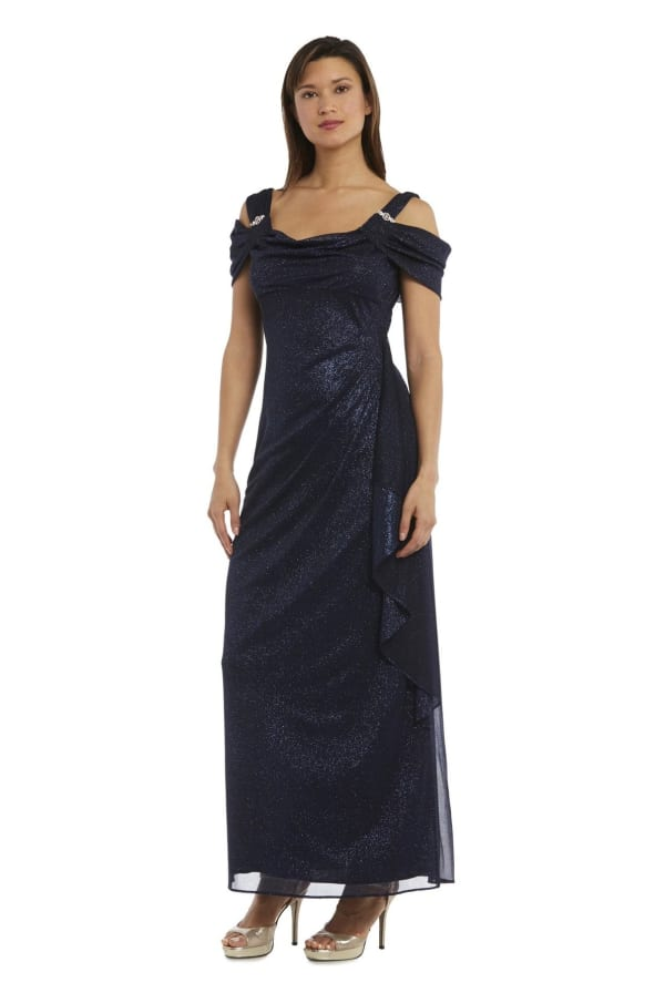 Glitter Mesh Column Dress with Draping and Shoulder Caps - Navy - Front