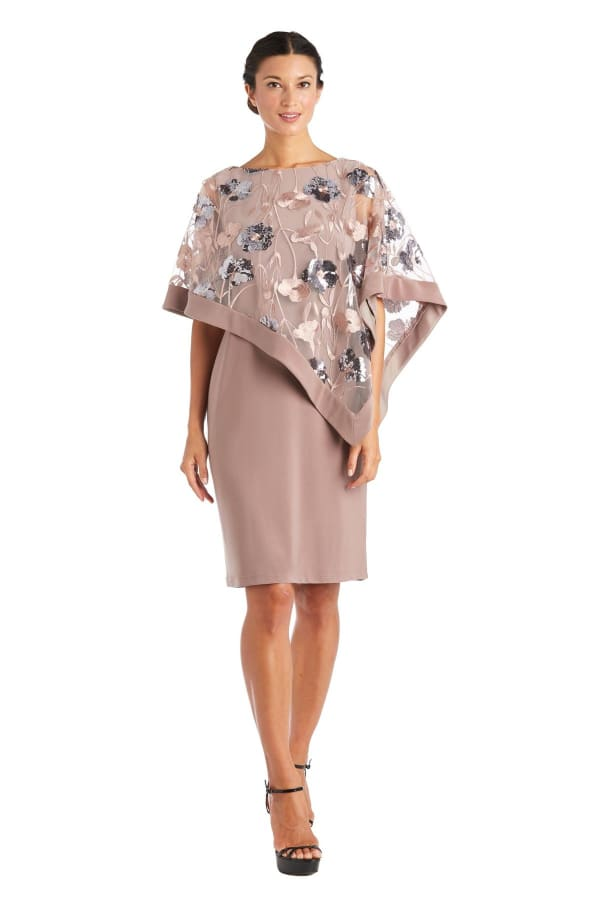 Short Dress With Novelty Sheer Poncho - Mocha - Front