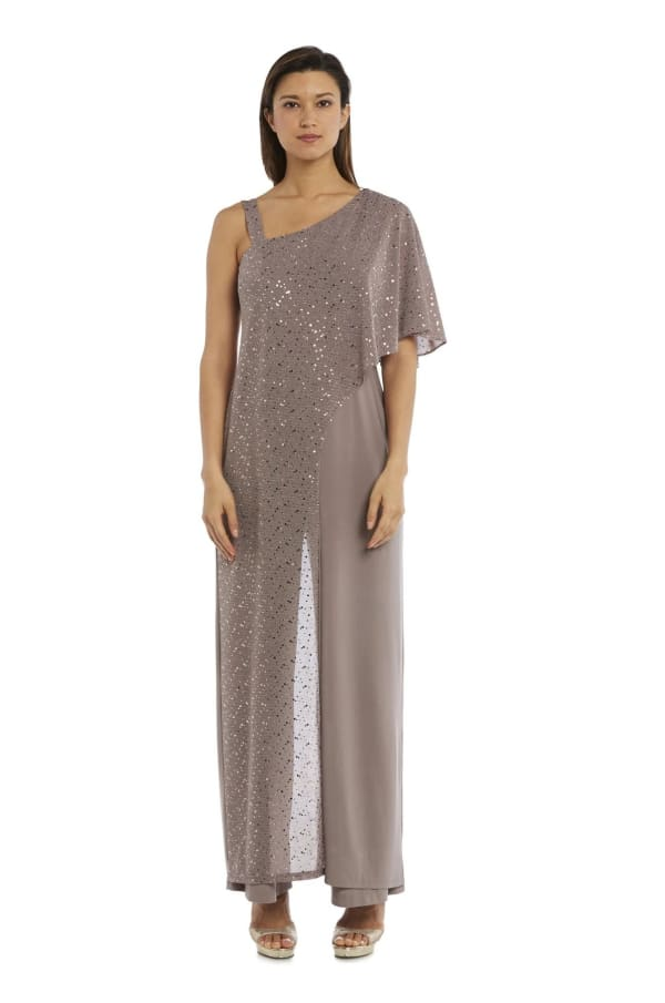 Asymmetric Jumpsuit with Sequined Overlay and Draped Shoulder - Mocha - Front