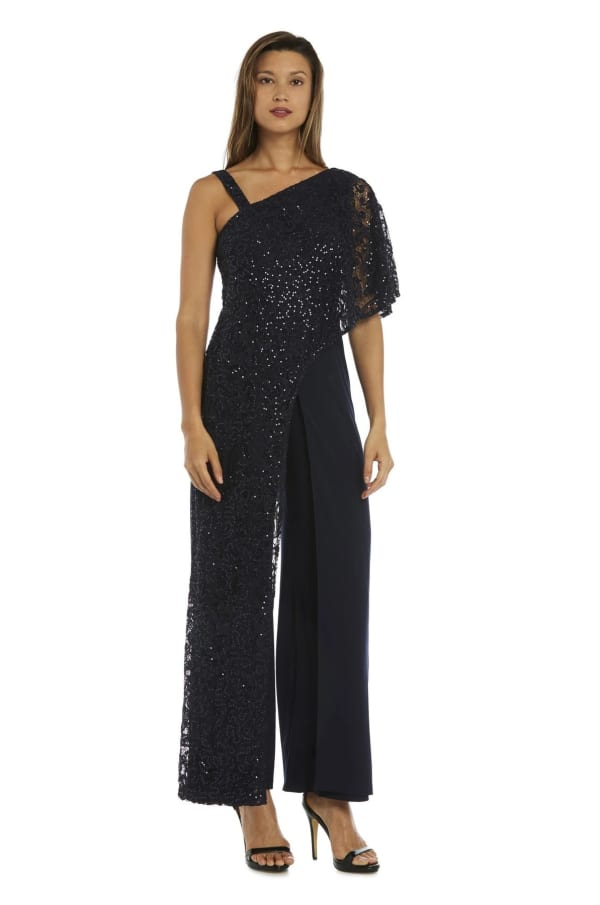 Asymmetric Evening Jumpsuit with Lace and Sequins - Navy - Front