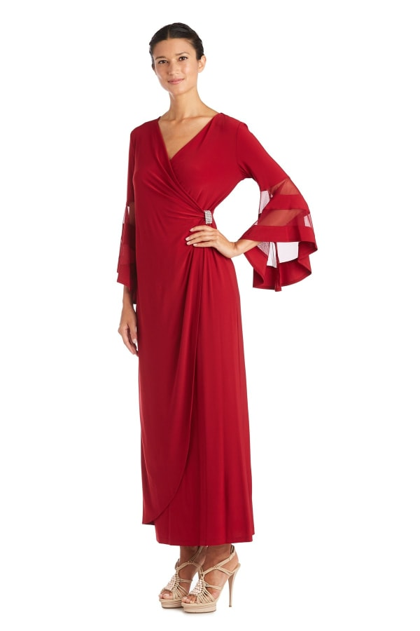 Crossover Maxi Dress with Bell Sleeves and Sheer Inserts - Scarlet - Front