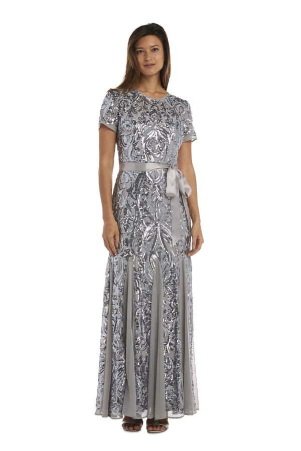 One Piece Sleeves Embedded Sequins Panel Godet Long Dress - Silver - Front