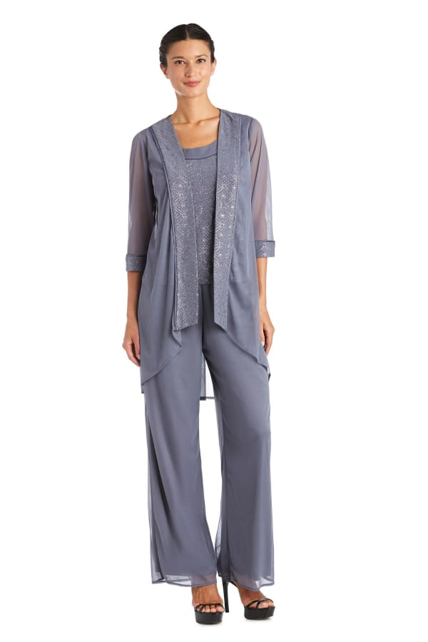 Faux Three-Piece Pant Set with Sparkle Top and Sheer Cardigan - Charcoal - Front