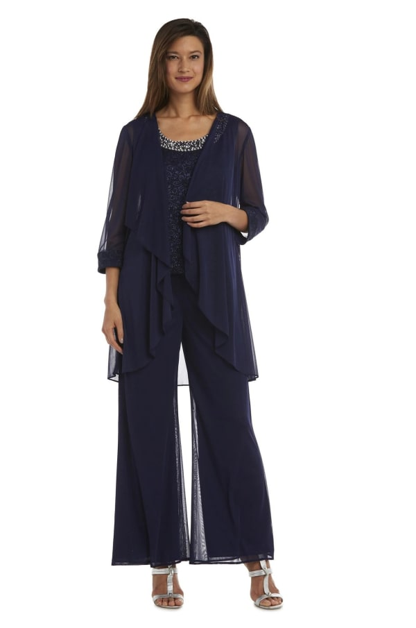 Three-Piece Pant Set with Lace, Pearl Detail and Sheer Cardigan - Navy - Front