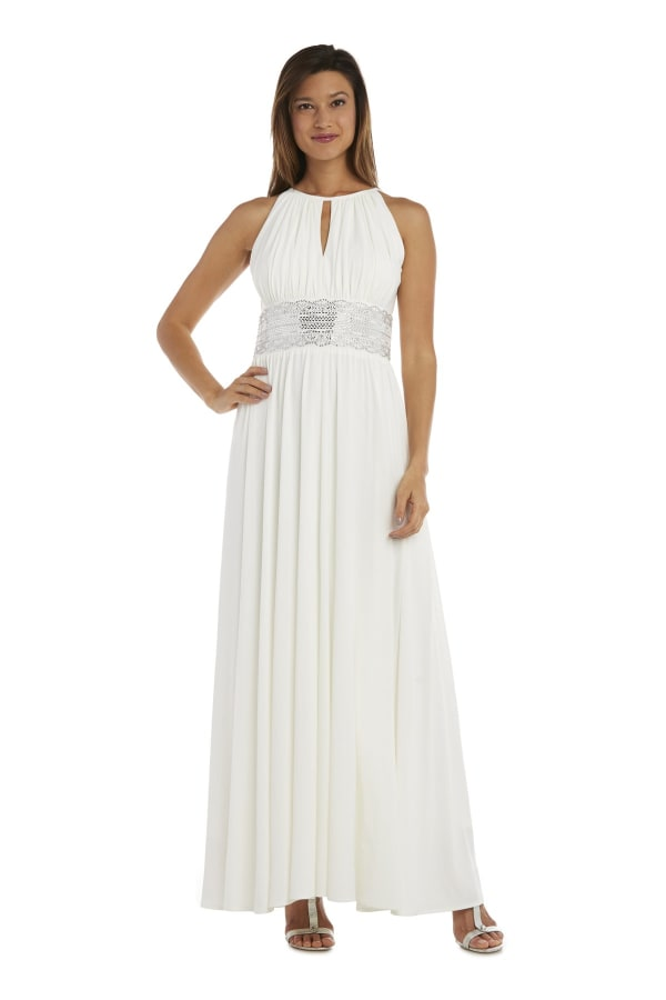 Sleeveless Maxi Dress with Embellished Waist Band and Keyhole Cutout - Ivory - Front