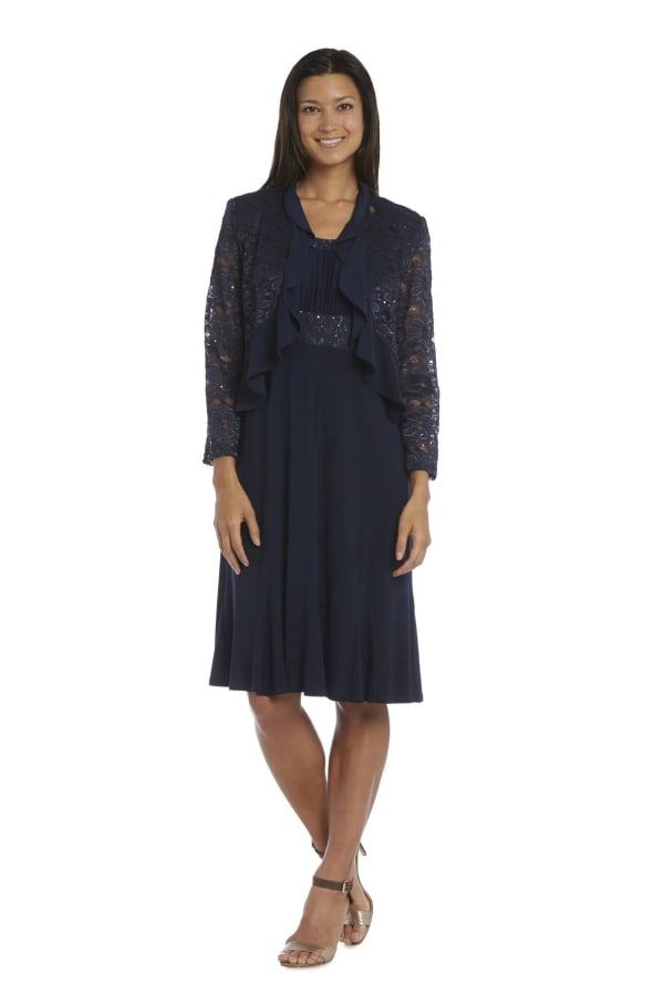 Knee-Length Dress with Ruched Bust and Lace Detailing with Lace Jacket - Navy - Front