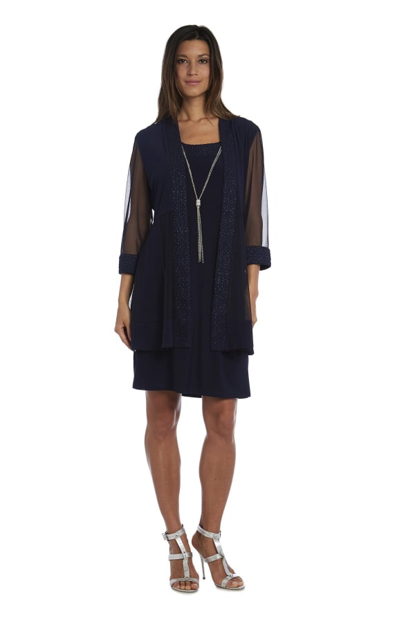 Shift Dress and Jacket Set with Textured Detail and Sheer Inserts