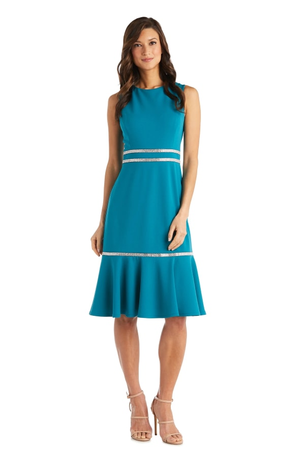 Sleeveless, Fitted Fishtail Dress with Diamante Embellishments - Teal - Front