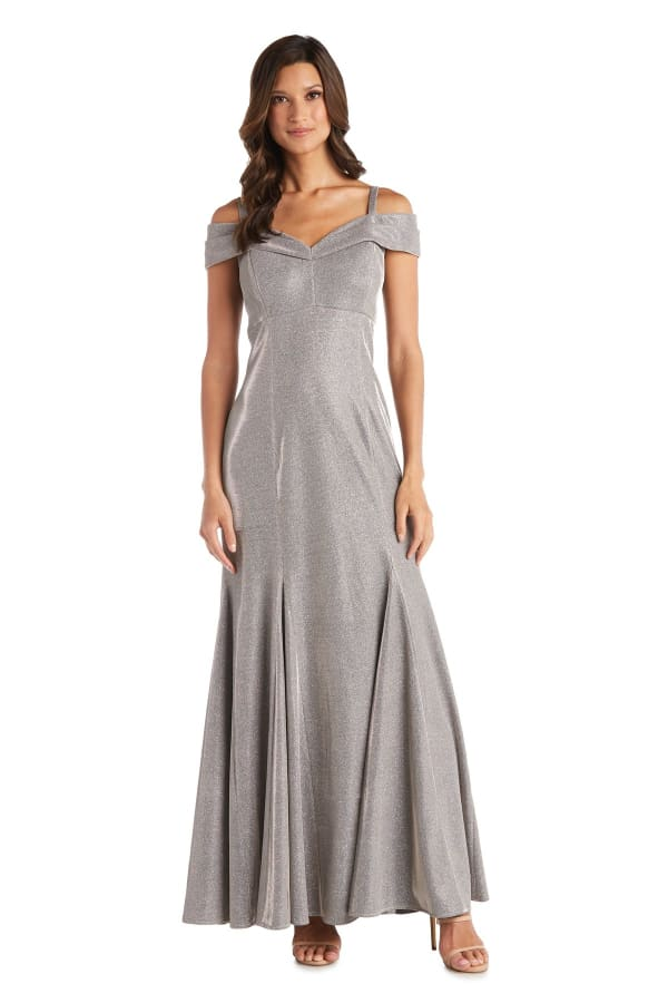 Off-the-shoulder Gown with Fishtail and Metallic Finish - Gold - Front