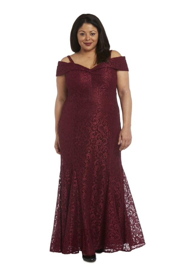 Off the Shoulder Glitter Lace Gown Godet Pleats at Hem - Plus - Merlot - Front