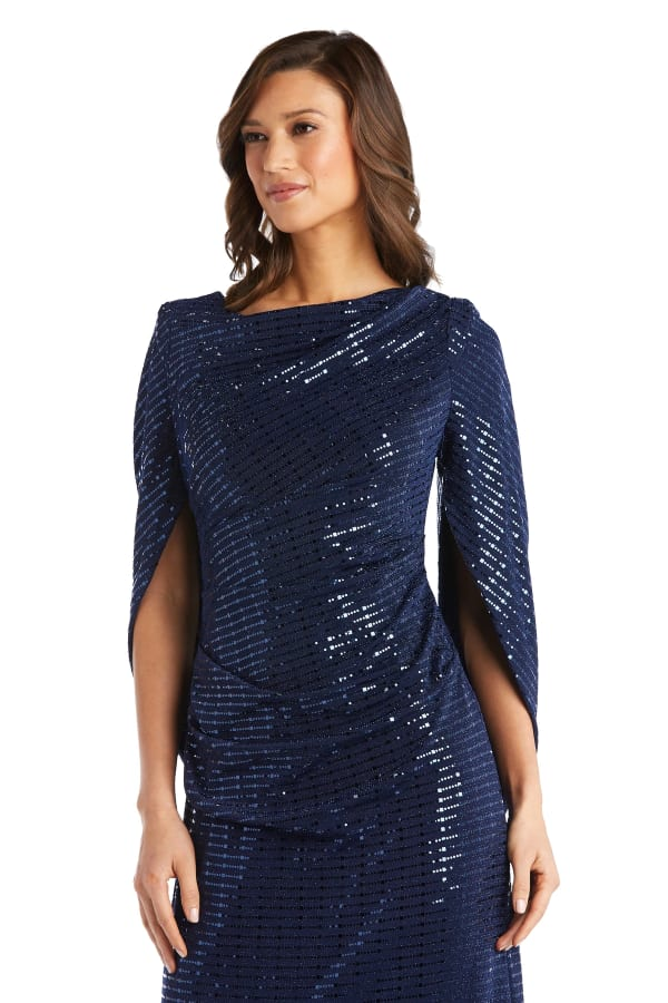 Sequined Column Gown with Cape-Shawl Sleeves - Navy - Front