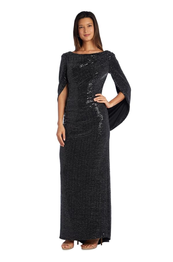Sequined Column Gown with Cape-Shawl Sleeves - Black - Front