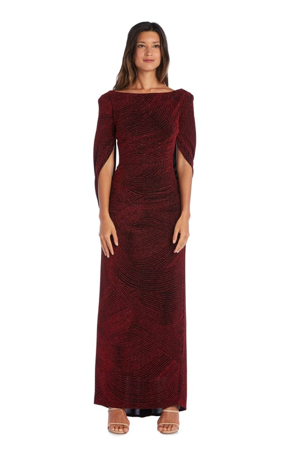Fitted Column Gown with Shawl Sleeves and Metallic Finish
