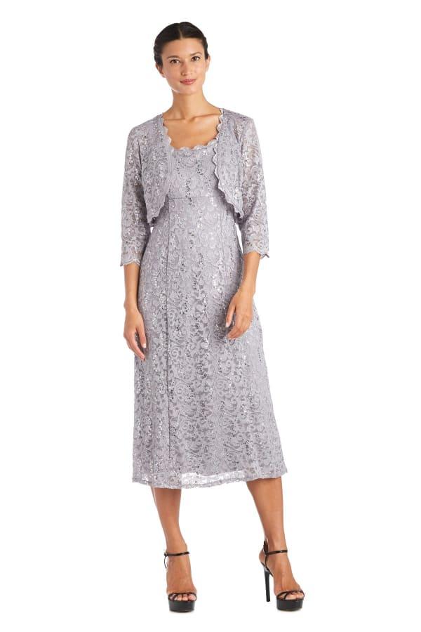 Lace Bolero Jacket Dress - Granite - Front