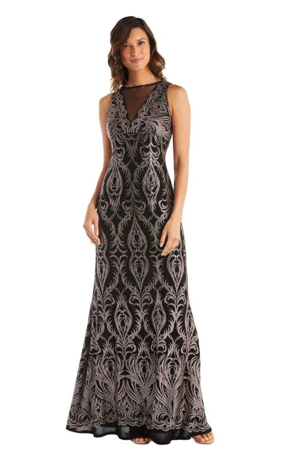Sheer Insert Glitter Placement Slinky Dress - Black / Gold - Front