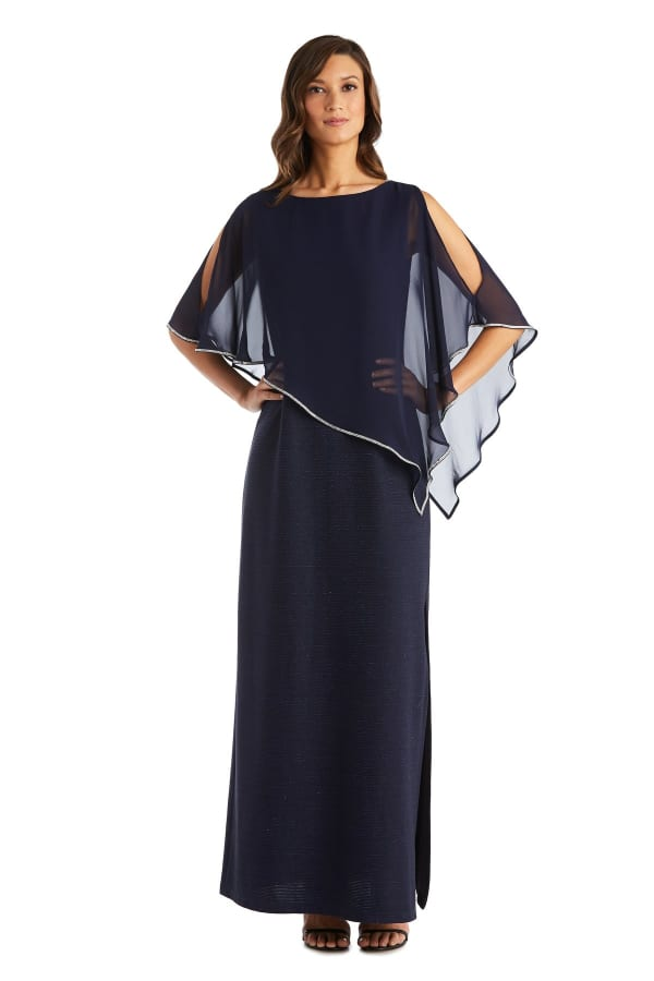 Rhinestone Poncho Metallic Stripe Dress - Navy - Front