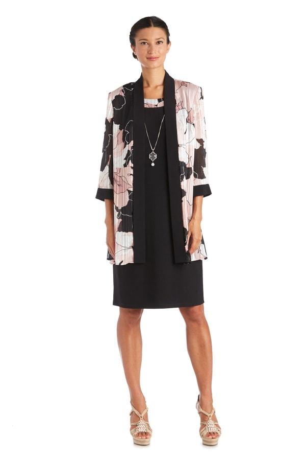 Two-Piece Print Satin Stripe Jacket Dress Regular - Black / Pink - Front