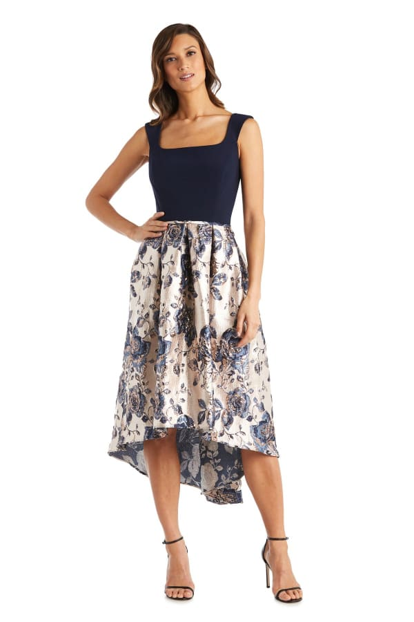 Metallic Brocade Square Neck High Low Dress - Navy / Gold - Front