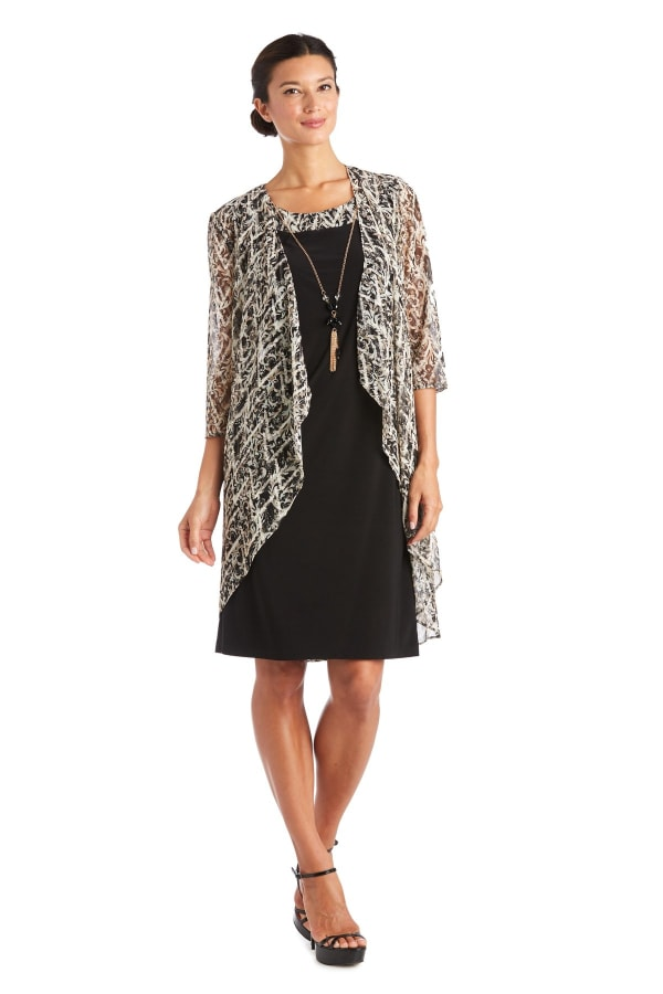 Puff Print Swing Jacket Dress - Black / Taupe - Front