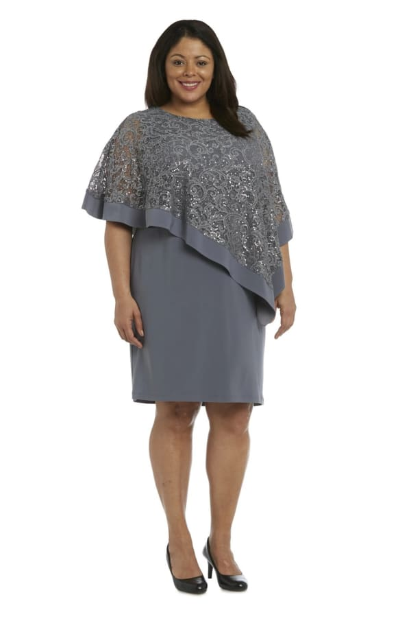 Caplet Dress with Metallic Lace Asymmetric Poncho -Plus - Charcoal - Front