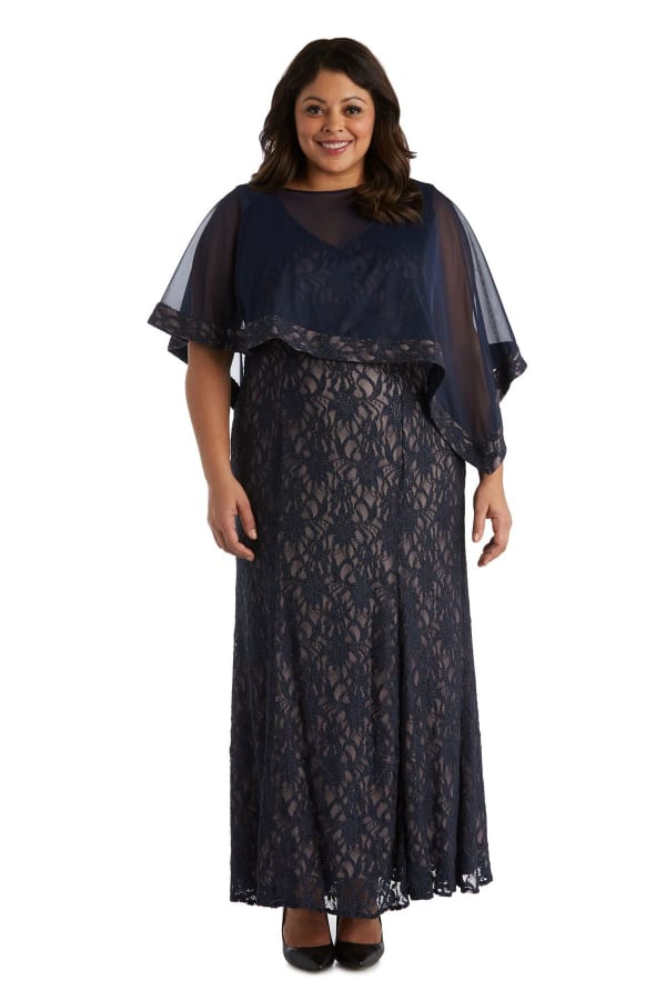 Sheer Chiffon Caplet Long Lace Dress - Navy / Taupe - Front