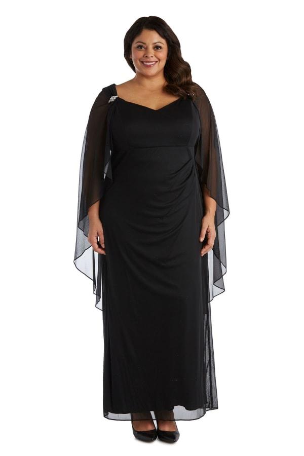 Long Cape Gown -Plus - Black - Front