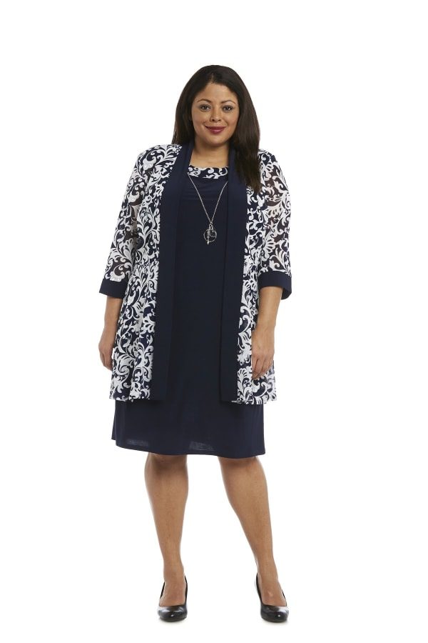 Scroll Mesh Jacket with Sheath Dress - Plus - Navy/White - Front