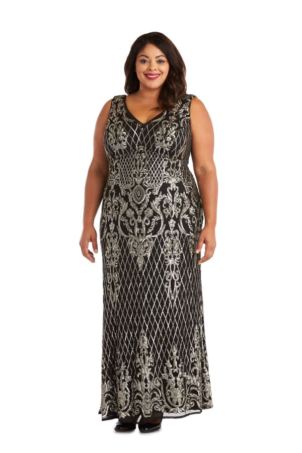 Sequined Maxi Gown with V-Neck and Fitted Silhouette -Plus - Black / Gold - Front