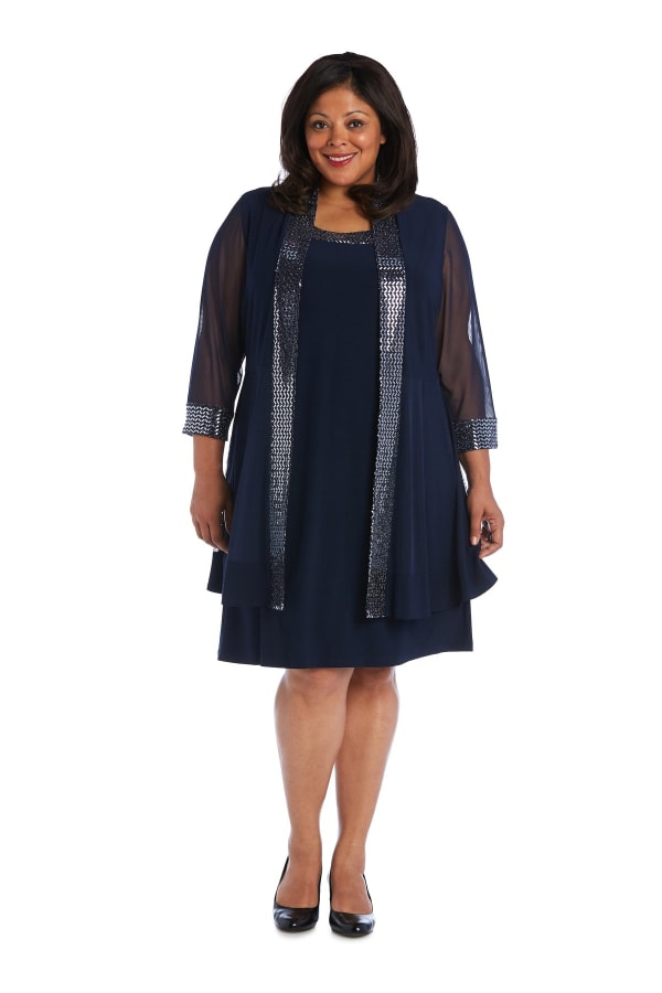 Dress and Jacket Set with Sheer Sleeves and Embellished Edges -Plus - Navy - Front