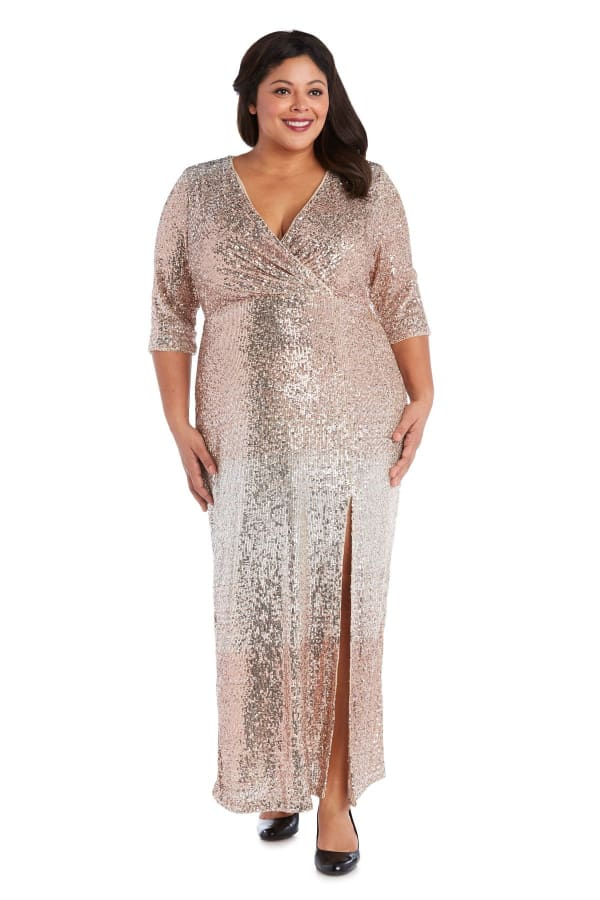 3/4 Sleeve Sequin Maxi Gown with Slit - Plus - Champagne - Front