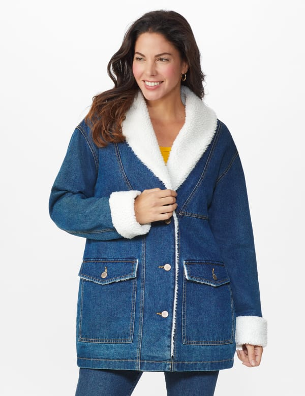 Oversized Denim Jacket with Sherpa Lining - Dark Wash - Front