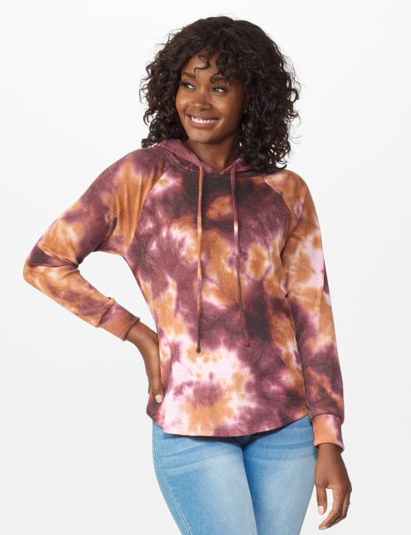Tie Dye Thermal Knit Hoodie - Wine/Taffy - Front