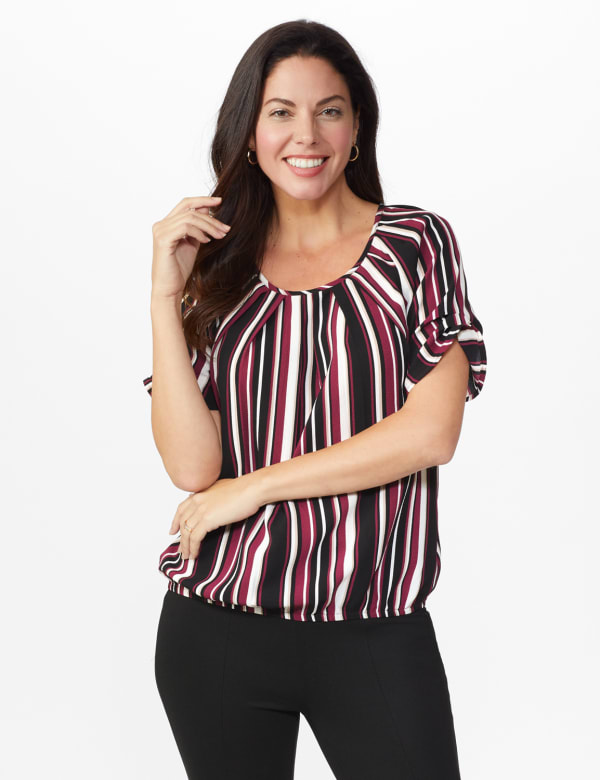 Roz & Ali Striped Bubble Hem Blouse - White/Khaki/Black - Front