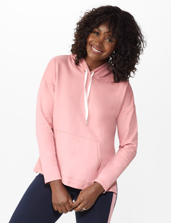 DB Sunday Kangaroo Pocket French Terry Hoodie - Mauve Pink - Front