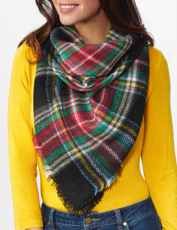 "Cozy Plaid Blanket Scarf ""Can Be Worn Six Ways"" - Black - Front"