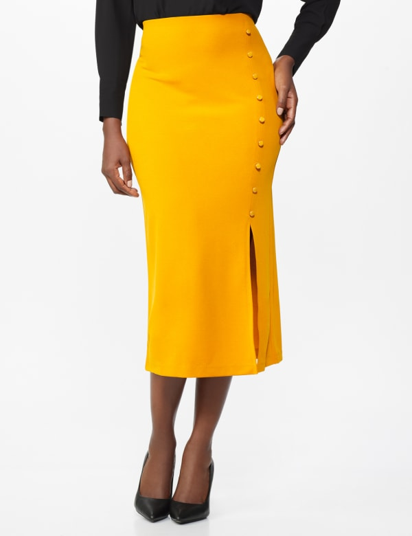 Side Slit Pull-On Pencil Skirt with Button Detail - Gong - Front