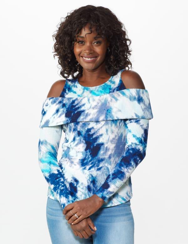 Tie Dye Thermal Cold Shoulder Top - Misses - Navy/Aqua - Front