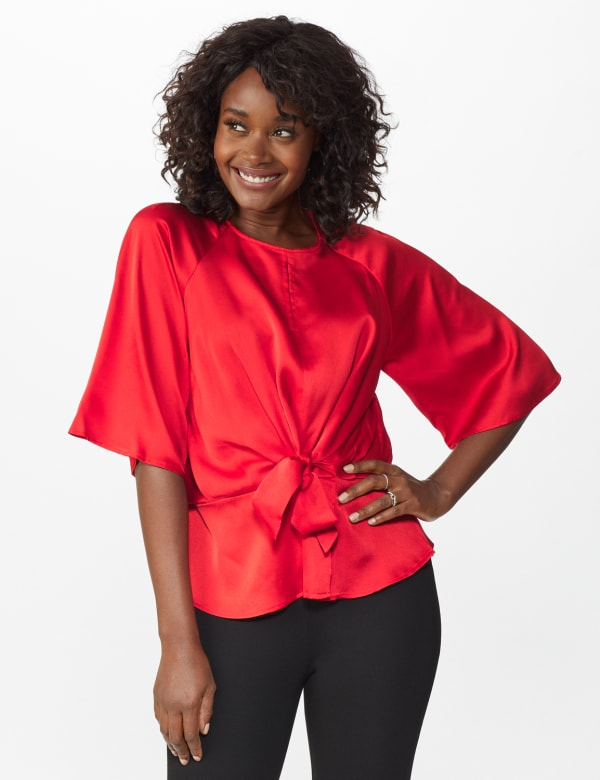 Satin Tie Front Blouse - Misses -Crimson Ruby - Front