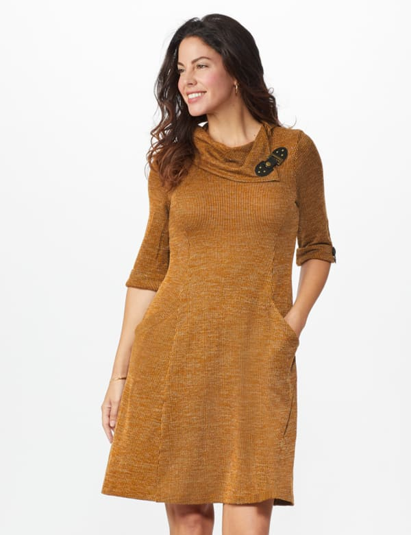 Cowl Neck with Buckle Knit Dress - Mustard - Front