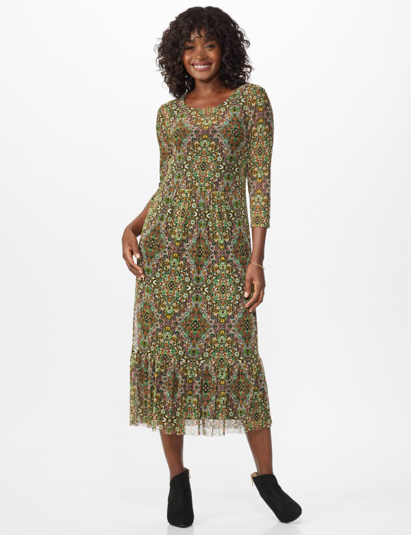 Tapestry Print Midi Dress - Gold - Front