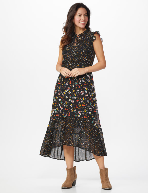 Ditsy Peasant Dress - Misses - Black multi - Front
