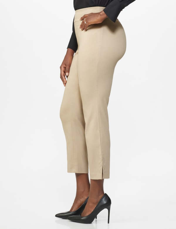 Roz & Ali Solid Superstretch Tummy Panel Pull On Ankle Pants With Rivet Trim Bottom - dune - Front