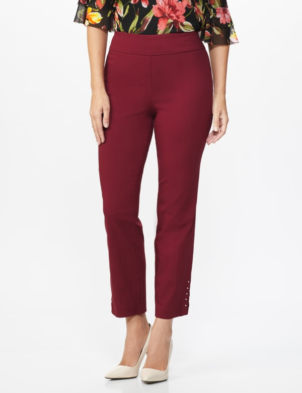 Roz & Ali Solid Superstretch Tummy Panel Pull On Ankle Pants With Rivet Trim Bottom - Misses - wine - Front